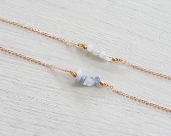 Aquamarine beaded bar necklace - Aquamarine necklace - Aquamarine gemstone necklace - Aquamarine bead necklace - March birthstone necklace