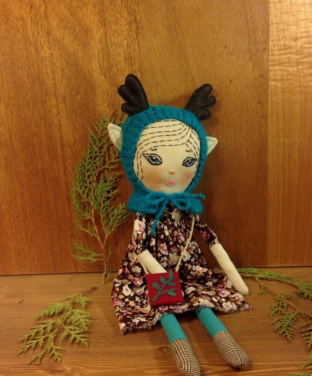 Save fruit doll - Art Doll Forest Fairy Heirloom Doll Elf Doll Woodland Doll Deer Doll Pixie Doll Fabric Doll Soft Doll Rag Doll Cloth Doll Textile Doll Fawn