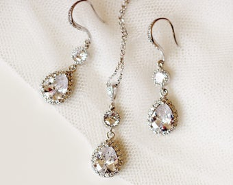 Bridal Jewelry Set Wedding For Brides Silver CZ Earrings And Necklace Crystal
