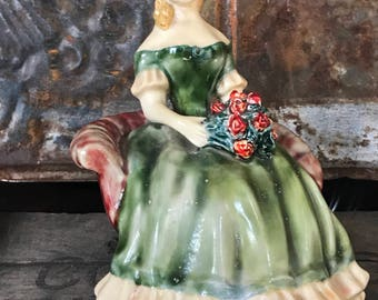 Victorian Girl in Chair Statue