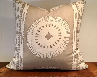 "Schumacher ""Bora Bora"" Linen Pillow Cover"