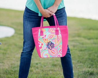 Insulated lunch bag for women Lunch bag Personalized cooler tote Monogram Lunch Bag Cooler Tote Pink Paisley Lunch Tote Bridesmaids Gifts fo