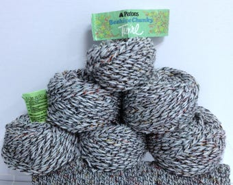Patons Beehive Chunky Yarn, Cotton Acrylic Wool Blend Tweed Yarn Made in Great Britain, Vintage Patons Yarn Wrapping as Twine or Trim Bundle