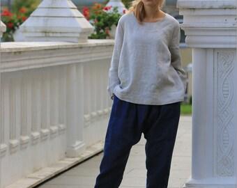 Light linen blouse / Natural linen blouse / Plus Size Linen Clothing / casual scoop neck linen blouse / linen tshirt