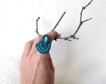 Statement ring For woman gift Unique rings Teal jewelry Fashion ring Gift|for|her Large ring Blue green ring Aqua Opal rhinestone Soutache