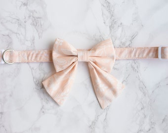 Bow Collar | Rifle Paper Co Les Fleurs Peach Botanical | Dog & Cat