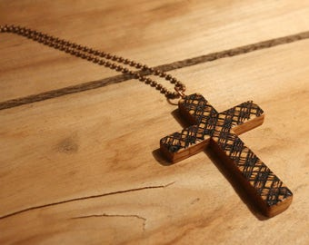 Wood Cross Necklace, Woodburned, Buffalo Check, Wooden Cross, Easter jewelry, Red Oak, Natural wood, Beeswax stain, Christian jewelry