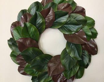 "Faux magnolia wreath, Fixer upper style wreath, 18"" Magnolia wreath, Farmhouse wreath, Brown and green magnolia wreath"