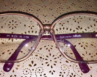 Vintage Austrian 80's Animal Print/ Magenta/ Dark Pink / Gold/ Silhouette Glasses/ Frames/ Designer Sunglasses
