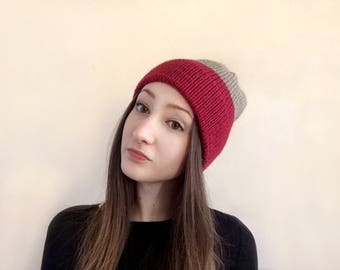 Two Tone Color Block Knit Hat in Camel and Red