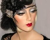 DECO DIVA 20s Art Deco Gatsby Cap, Juliet Flapper Headpiece, Silver & Black Lace Hat, 20s Flapper Hat, Silver And Black Flapper Skull Cap