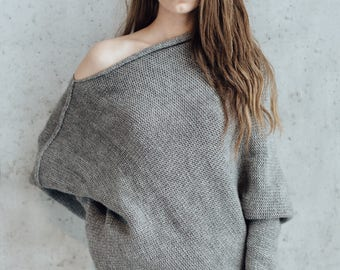 Women's Knitted Sweater. Alpaca Asymmetric Sweater. Oversized Loose Fit Sweater. Grey Sweater. READY TO SHIP.