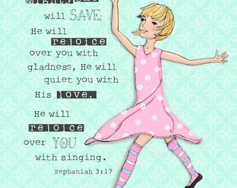Zephaniah Girl blonde hair scripture art print - children's room art - girl's nursery decor