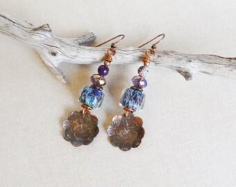 Maï.Beautiful Purple Violet,Rustic,Urban Chic,Bijoux,faits Main,Unique,Woman Gift,Shibuichi,Copper Blossoms,Yeelen Spirit Artisan Earrings