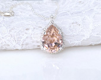 Blush Pendant Blush Pink Morganite Necklace Pink Wedding Pink Bridesmaids Pink Blush Swarovski Crystal Blush Bridal Sterling Silver Pendant