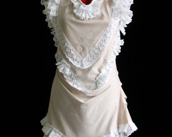 Romantic Seashells Antique-Style Steampunk Bustle Dress with Cowl Neck Custom Size