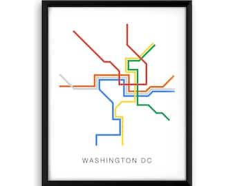 Washington DC Subway Map Poster - A Graphic Design Illustration Print of City Transit Line Art, Public Transit - Metro T Line Art Design