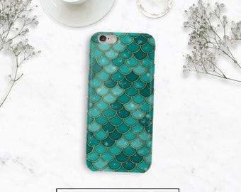 Green Mermaid Scales Case, iPhone 6s Plus, Durable Case, Galaxy S8 Plus Case, Google Pixel Case, iPhone Plus Case, S8 Phone Case
