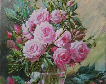 Rose painting Still life oil painting Flower painting canvas Wife christmas gift for girlfriend Floral painting art Gift|for|women Pink Rose