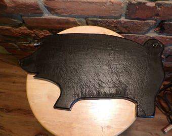 Black wood pig, pig wall décor, shabby black wood pig, PIG Cutout Folk Art Vintage Wall Décor, Folk Art Pig, black pig, pig decor