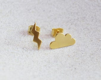 Rainy Day Earrings,WEATHER Earrings, Rain Earrings, Lightening, Could, Thunder Earrings, Storm Earrings, Tiny Earrings, Gold Earrings