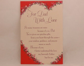 "NEW! Vintage ""For Dad"" on Valentine's Day by Dayspring. Single Greeting Card with Envelope."