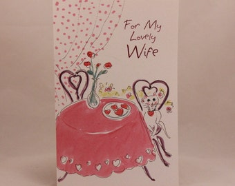 "NEW! Vintage ""Wife"" Valentine's Day by Freedom. Single Greeting Card with Envelope."