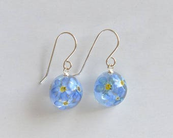 forget me not blue earrings in sterling silver, romantic and symbolic gift for her, birthday, graduation, flower jewelry