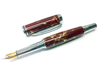 Red Jasper Pyrite Pen- Handcrafted stone fountain Iridium and gold nib. Turned with Chrome Plating. Handmade Gift