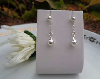 Small Silver earrings with drops, 925 Silver