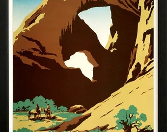 See America Arches National Park Retro poster Custom Framed A+ Quality