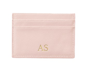 PERSONALISED MONOGRAMMED Leather Wallet Card Holder Bridal Light Pink Blush