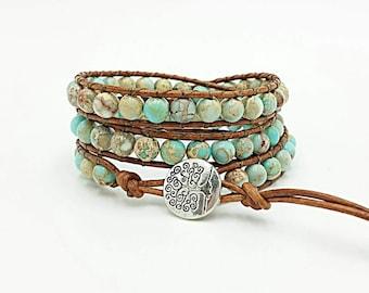 leather wrap bracelet, beaded wrap bracelet, gemstone leather wrap bracelet, jasper bracelet, tree of life boho bracelet, sea sediment