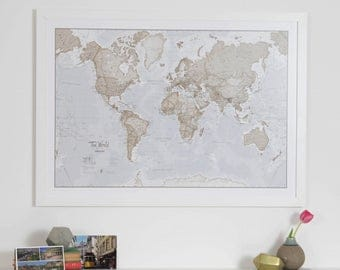 Map of the World Art Print - home decor, living room, art map, bedroom, map of the world,gift for him,gift for her, art print, Free shipping