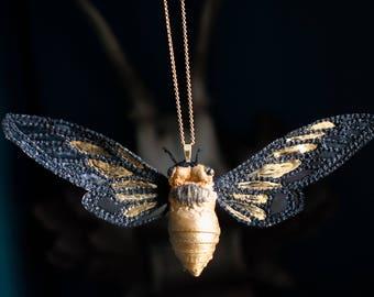 black-gold cicada pendant,fiberart, soft sculpture,