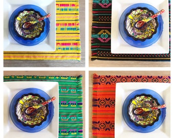 Mexican placemats, set of 6. Assorted colors, Fiesta decor, woven napkins, boho chic linens, hippie decor, tribal kitchen, hostes gift