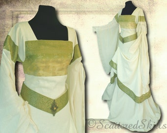 Linen dress with silk, GR 36, composed in three parts - LARP, fantasy, medieval