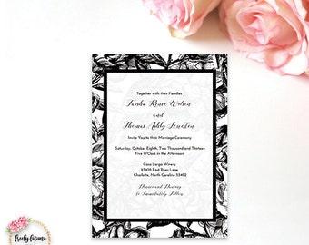 Black and White Invitation - Vintage Floral Wedding Invitation - Printable Invitation - Digital Invitation