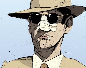 Jack Nicholson as Jake Gittes in Chinatown Illustrated Art Print