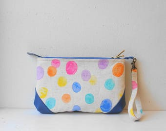 Linen Pouch in Pouch(Colourful Dots)