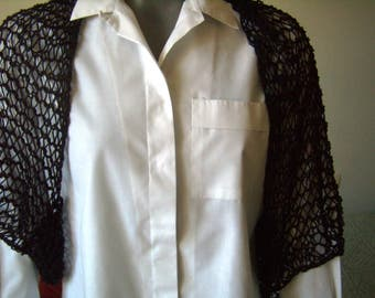 Bolero, shrug of the shoulders, women shrug, shawl, scarf, infinity, knitting needles, point perforated, black, size M/L, scarf, handmade