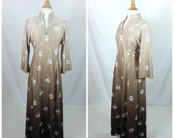 Floral Print MAXI DRESS Lounge Medium Hippie Trumpet Sleeves Tan 1970s