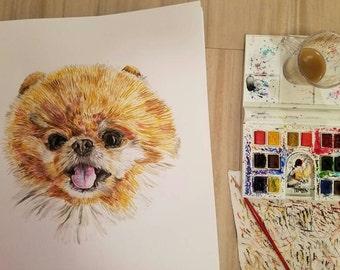 Custom dog watercolor, custom animal watercolor, dog watercolor, animal watercolor, custom dog, 11x14 +