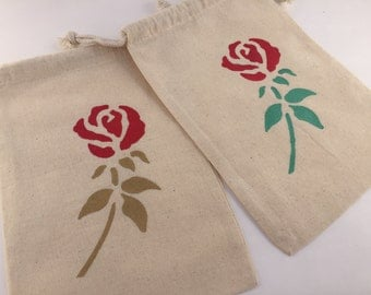 Beauty and the Beast Party Favor Bags: Beauty and the Beast Treat Bag, Reusable Drawstring Muslin Rose Favor Bags,