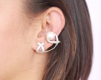Pearl Ear Cuffs / Sterling Silver
