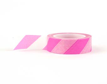 Washi tape with pink and white stripe: pink, stationery, stationary, LittleLeftyLou, Snail Mail, Happy mail, masking tape, 10 meter