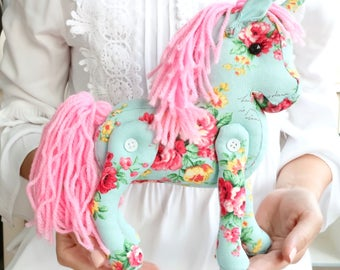 Aqua Blue Unicorn Plush Toy. Vintage Cottage Chic Home Decor. Stuffed Horse. French Country Chic Nursery Decor. Baby Gift