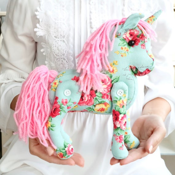 Unicorn Plush Toy Vintage Cottage Chic Home Decor Plush Unicorn Stuffed Unicorn Nursery French Country Chic