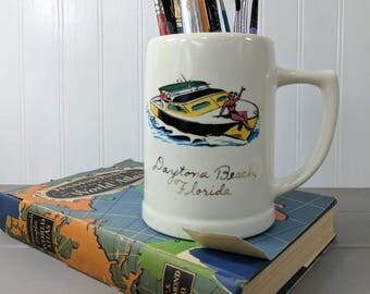 Vintage Daytona Beach Ceramic Mug 1960's Design, Beer Stein, Vintage Pencil Cup or Art Supply Storage, Travel Souvenir From Florida