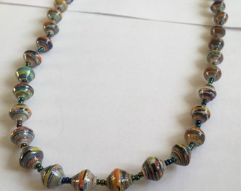 Long Multi-Coloured Bead Necklace - Made from recycled paper by Women in the slums of Uganda